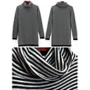 Wool Long Sleeves Cowl Neck Stripes Longline Sweater/Inspired by LINDSAY LOHAN Women's Sweaters(1001BC016-0751)