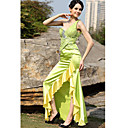 Sheath/ Column One Shoulder Floor-length Sleeveless Elastic silk-like satin Quick Delivery Dress (OFGH0295)