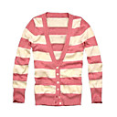 Wool Long Sleeves Stripes V Neckline Women's Cardigans(1001BB003-0739)