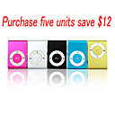 Card Reader MP3 Player Enclosure With Clip TF Card Support/5 Color/5 Pieces Per Package(SZM871)
