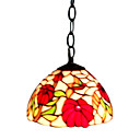 Red Rose Floral Tiffany Mini Pendant Light (0864-HZ0891)