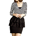 Stripes Frills Long Sleeves V Neckline Dress / Women's Dresses (FF-1801BD160-0857)