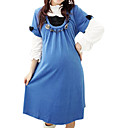 Cotton / Bow-tie Pleated Short Sleeves Maternity Dress / Maternity Wear (FF-1801BE311-0736)