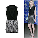 FASHION IDOLS Style / Diagonal Zippers Stripes Sleeves Shawl Collar Dress / Women's Dresses (FF-1801BE020-0736)