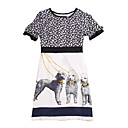 Silk / Dog Printed Patterns Short Sleeves Round Neckline Dress / Women's Dresses(FF-1802BE015-0736)