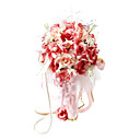 Elegant Red/ Pink Round Wedding Bouquet/ Bridal Bouquet With Chiffon Beads Decoration