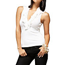 Falling Ruffles Deep V Neckline Vest / Women's Vests (FF-8503BF001-0851)