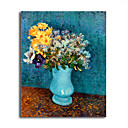Hand-painted Vase of Lilacs,Daisies and Anemones,c.1887 Oil Painting by Vincent Van Gogh  with Stretched Frame