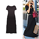 FASHION IDOL Style / Short Sleeves Round Neckline Longline Dress / Women's Dresses (FF-1801BF027-0851)