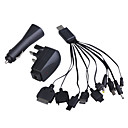 10-in-1 USB AC/Car Power Charger/Adapters for Cellphones (UK Plug/100~240V)