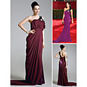 Lindsay Price Trumpet/ Mermaid One Shoulder Court Train Chiffon Elastic Woven Satin Emmy/ Evening Dress (FSD0362)