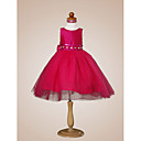 Ball Gown Bateau  Knee-length  Taffeta  Tulle  Flower Girl Dress