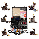 Top Quality Damascus Hand-made 6 Tattoo Machines Kit with Superior LED Power Supply