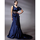 Elastic Woven Satin Trumpet/ Mermaid Scoop Court Train Evening Dress inspired by Christina Applegate at Emmy Award