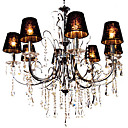 Iron Chrome 8-light Crystal Ceiling Light with Lamp Cover (1048-NT8003D-8)