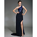 Chiffon Sheath/ Column One Shoulder Sweep Train Evening Dress inspired by Camilla Belle at Cannes Film Festival