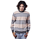 PURE CASHMERE / Wide Stripes Long Sleeves Round Neckline / Men's Cashmere Sweaters (FF-C-BI0736828)
