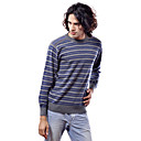 PURE CASHMERE / Blue Stripes Long Sleeves Round Neckline / Men's Cashmere Sweaters (FF-C-BI0736831)