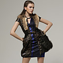 100% Real Rabbit Hair Decorated Leopard Short Sleeves Dress / Women's Dresses (FF-A-BK0996016)