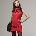 Special Hem Beaded Sleeveless Dress / Women's Dresses (Neon-Pink) (FF-A-BK0997008)