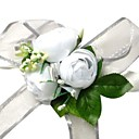 Elegant White Silk Rose With Chiffon Decoration Wedding/ Bridal Wrist Flower
