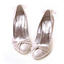 Sheepskin Upper High Heels Closed-toes With Bowknot Fashion Shoe (0985-HG111)