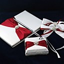Pure Elegant Wedding Guest Book and Pen Set in Satin With Decorative Bows