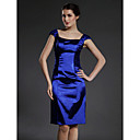 Sheath/Column Square Knee-length Capped Stretch Satin Mother of the Bride Dress