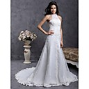 A-line High Neck Court Train Organza Over Satin Wedding Dress