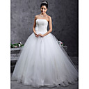 Ball Gown Strapless Beading Floor-length Tulle Wedding Dress