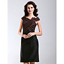 Sheath/ Column V-neck Knee-length Taffeta Cocktail/ Little Black/ Homecoming Dress
