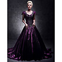 Taffeta A-line V-neck Court Train Evening Dress inspired by Taylor Swift