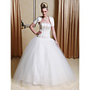 Ball Gown Strapless Floor-length Tulle Wedding Dress with Satin Wrap