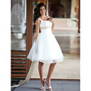 A-line Bateau Sleeveless Satin Tulle Knee-length Wedding Dress