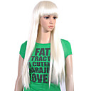 Capless Extra Long Top Grade Quality Synthetic White Straight Hair Wig