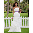 Sheath/Column Scalloped-Edge Neckline Floor-length Organza Wedding Dress