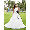 Ball Gown Strapless Court Train Tulle Wedding Dress