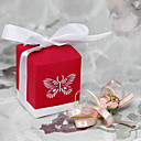 Red Favor Box With Laser Cut Butterfly (Set of 12)