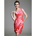 Sheath/Column One Shoulder Knee-length Charmeuse Cocktail Dress