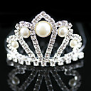 Gorgeous Rhinestones With Imitation Pearl Wedding Flower Girl Tiara/ Headpiece