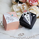 Square Bride & Groom Favor Box With Rhinestone (Set of 12)
