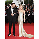 Elastic Satin Column Spaghetti Straps Court Train Evening Dress inspired by Diane Kruger at Cannes Film Festival