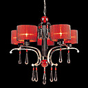Iron and Crystal Chandelier with 5 Lights (Red Shade)