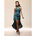 Sheath/ Column High Neck Asymmetrical Stretch Satin Cocktail Dress