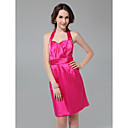 Sheath/ Column Halter Knee-length Satin Bridesmaid Dress