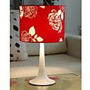 Red Table Light with Floral Patterned Lampshade (E27 Bulb Base)
