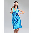Sheath/ Column Halter Knee-length Elastic Silk-like Satin Bridesmaid Dress