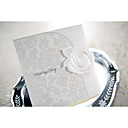 Elegant Embossed White Rose Tri-fold Wedding Invitation (Set of 50)