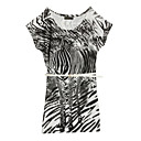 Zebra Pattern Beaded Fit Longline T-shirt / Women's T-shirts (FF-C-CC1221002)