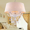 Elegant Crystal Drop 4-Light Pendant Light with Fabric Lamp
